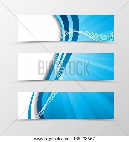 Set of banner wave design. Light banner for header with blue lines. Design of banner in spectrum style. Vector illustration