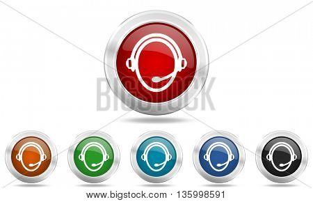 customer service round glossy icon set, colored circle metallic design internet buttons