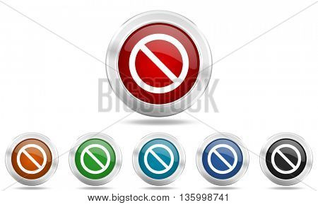 access denied round glossy icon set, colored circle metallic design internet buttons