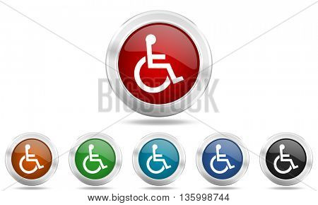 wheelchair round glossy icon set, colored circle metallic design internet buttons