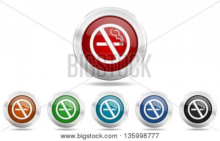 no smoking round glossy icon set, colored circle metallic design internet buttons