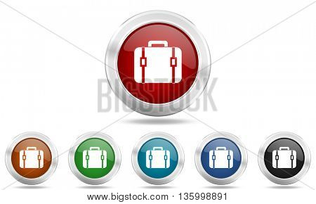 bag round glossy icon set, colored circle metallic design internet buttons