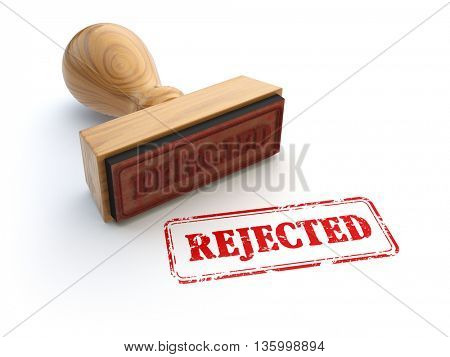 Stamp Rejected isolated on white. Agreement or approval concept. 3d illustration