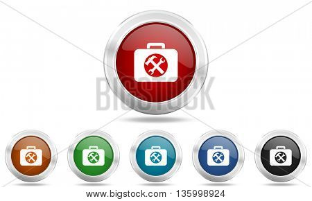 toolkit round glossy icon set, colored circle metallic design internet buttons