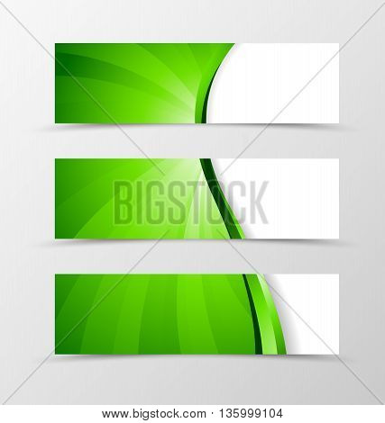 Set of banner wave design. Bright banner for header with green line. Design of banner in vortex spectrum style. Vector illustration