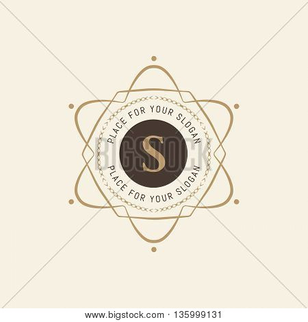 The letter S. Flourishes calligraphic monogram emblem template. Luxury elegant frame ornament line logo design vector illustration. Example designs for Cafe, Hotel, Heraldic, Restaurant, Boutique