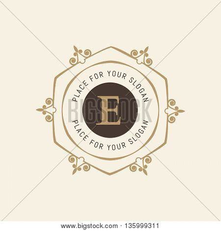 The letter E. Flourishes calligraphic monogram emblem template. Luxury elegant frame ornament line logo design vector illustration. Example designs for Cafe, Hotel, Heraldic, Restaurant, Boutique