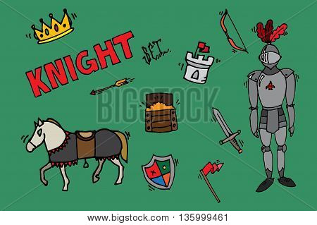 Medieval kingdom legendary armored knight warrior with lance and attributes flat icons set abstract isolated vector illustration