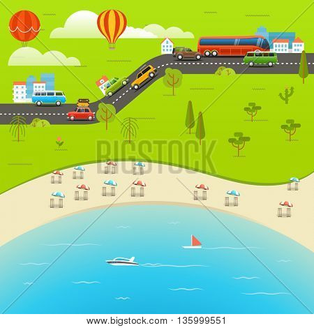 Summer season beach vacation illustration. Vacation vector concept