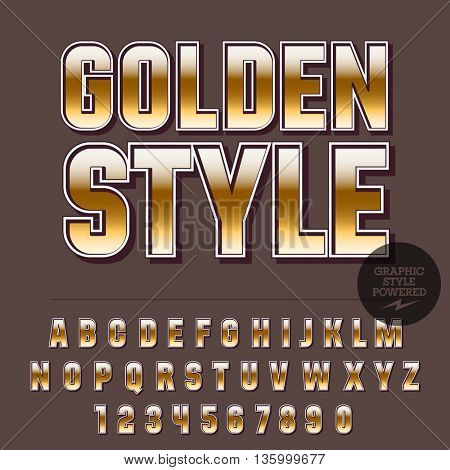 Glossy set of alphabet letters, numbers and punctuation symbols. Reflective vector icon with text Golden style