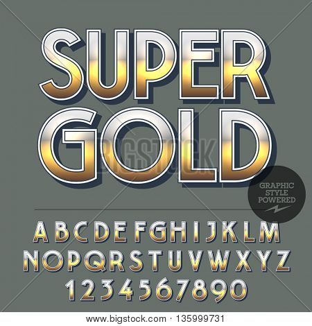 Glossy set of alphabet letters, numbers and punctuation symbols. Reflective vector logo with text Super gold