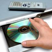 inserting disc to DVD player