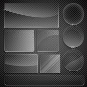 set of transparent glass on sample background. Glass framework set. Glass square, rectangular and ro poster