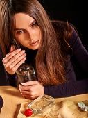 Постер, плакат: Girl in depression drinking alcohol in solitude Drinking alcohol habits Girl is heavy alcohol drin