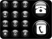 picture of dial pad  - glossy 3d phone pad icons with numbers and telephone icon - JPG
