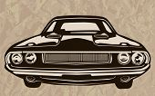 Постер, плакат: Muscle Car Abstract Retro Sketch 1