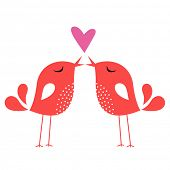 image of love heart  - bird love card - JPG
