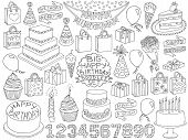 Постер, плакат: Birthday Doodles Set Anniversary Kid Birthday Sketch Symbols