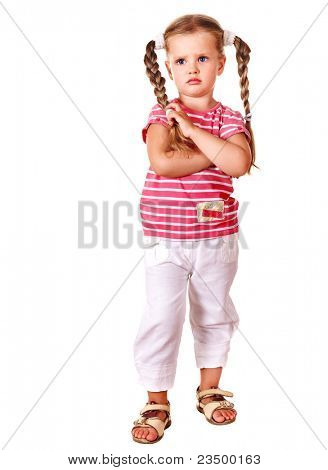 Sulking child with arms crossed isolated on white.