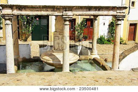 Marble Fontaine At Castelo De Vide Village, Portugal.