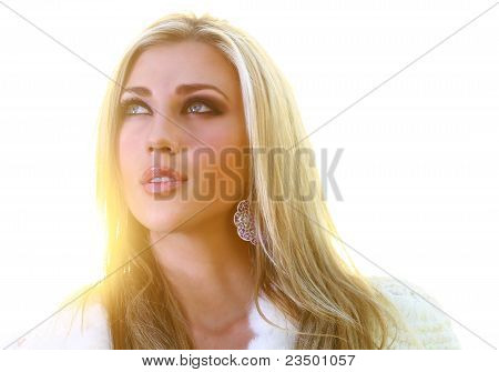 Beautful Blonde Lady Looking Skywards