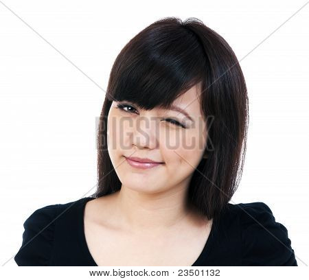 Cute Young Asian Woman Winking