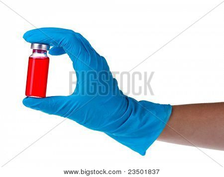 hands and ampoule isolated on white