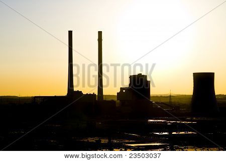 Sunset Over Power Plant