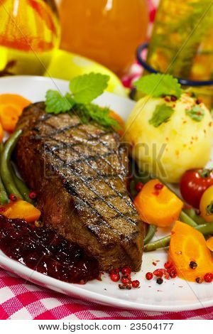 Gourmet Steak with Green Beans, Cherry Tomato, Cranberry