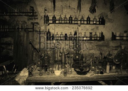 Old Laboratory Mining Tools And