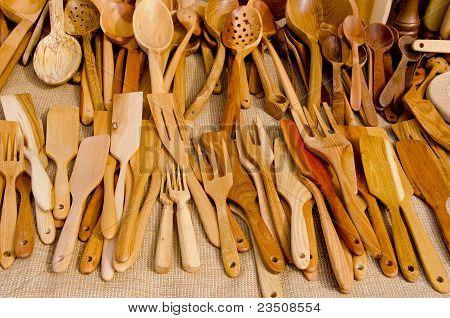 Hand Graven Wooden Tools.