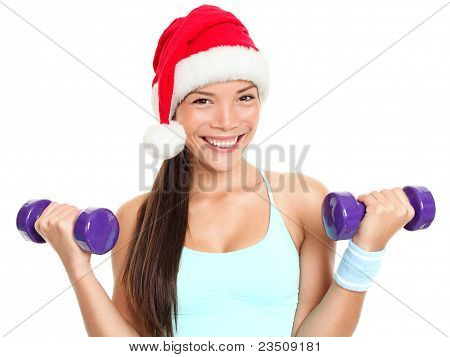 Christmas Fitness Woman Wearing Santa Hat