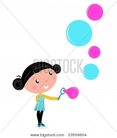 Cute Little Girl Blowing Soap Bubbles Isolated On White.
