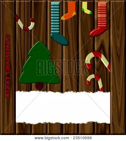 Christmas Card On A Wooden Background