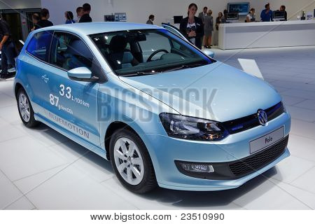 FRANKFURT - SEP 17: Volkswagen Polo car shown at the 64th Internationale Automobil Ausstellung (IAA) on September 17, 2011 in Frankfurt, Germany.