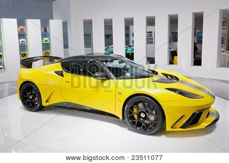 FRANKFURT - SEP 17: Lotus Evora GTE Sport car shown at the 64th Internationale Automobil Ausstellung (IAA) on September 17, 2011 in Frankfurt, Germany.