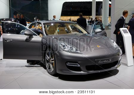 FRANKFURT - SEP 17: Porche Turbo S sport car shown at the 64th Internationale Automobil Ausstellung (IAA) on September 17, 2011 in Frankfurt, Germany.