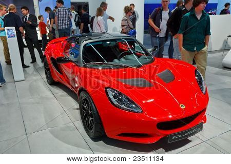 FRANKFURT - SEP 17: Lotus Elise S Sport car shown at the 64th Internationale Automobil Ausstellung (IAA) on September 17, 2011 in Frankfurt, Germany.