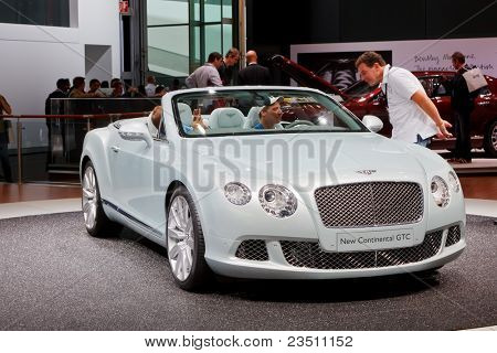 FRANKFURT - SEP 17: Bentley New Continental GTC car shown at the 64th Internationale Automobil Ausstellung (IAA) on September 17, 2011 in Frankfurt, Germany.