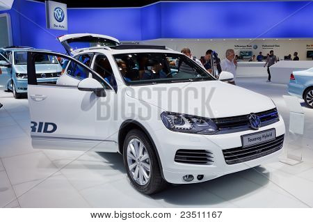 FRANKFURT - SEP 17: Volkswagen Touareg Hybrid car shown at the 64th Internationale Automobil Ausstellung (IAA) on September 17, 2011 in Frankfurt, Germany.