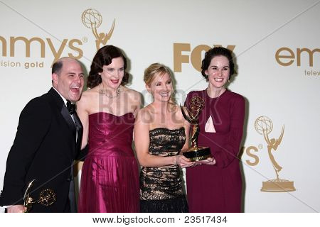 LOS ANGELES - SEP 18: Matthew Weiner, Elizabeth McGovern, Joanne Froggatt, Michelle Dockery in the Press Room at the 63rd Primetime Emmy Awards at Nokia Theater on September 18, 2011 in Los Angeles,CA