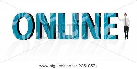Palavra online e homem de negócios