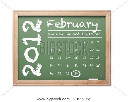 Month of February 2012 Calendar on Green Chalkboard Over White Background.