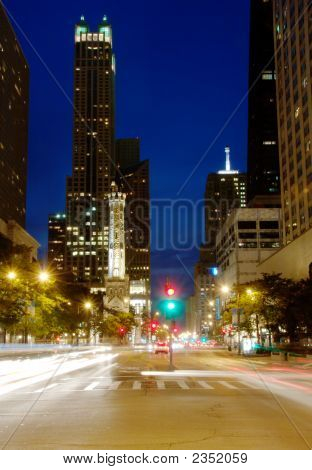 Chicago'S Michigan Ave At Night
