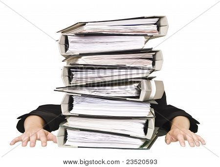 Human Behind A Stack Of Folders