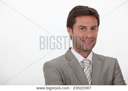 40 years old man wearing grey suit and tie