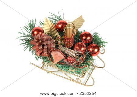 Santa'S Sledge With Christmas Ornaments