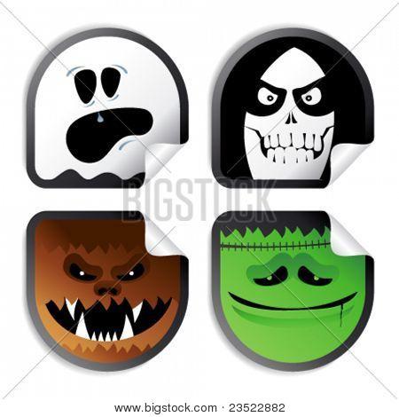 Smileys do monstro, halloween ímpios adesivos.