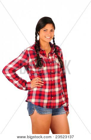 Smiling Teenage Girl in Plaid Shirt and Jean Shorts, standing with on hand on her hip. Vertical format isolated on white.