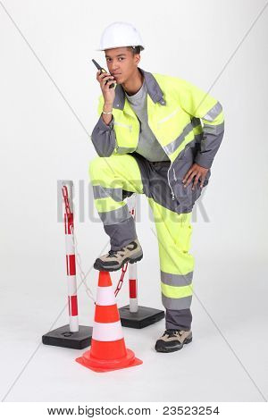 Man illustrating roadworks